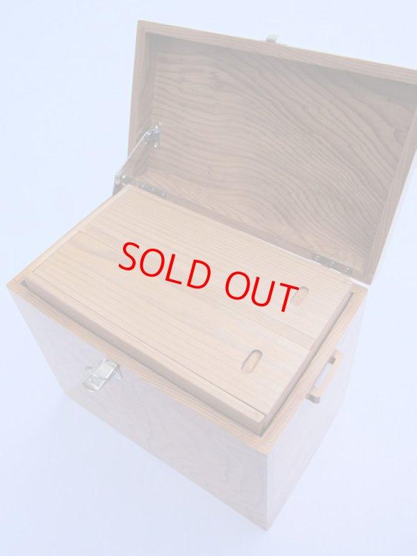画像2: 感謝価格 50%引き! 国産杉材使用 合切箱 鏡面仕上げ なかごスライド開閉  ベルト付き