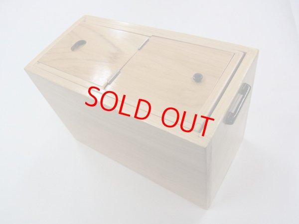 画像1: 新春初売り!40%OFF!国産檜材使用道具箱 兼水箱 上蓋スライド開閉 なかご下スライド  ベルト付き