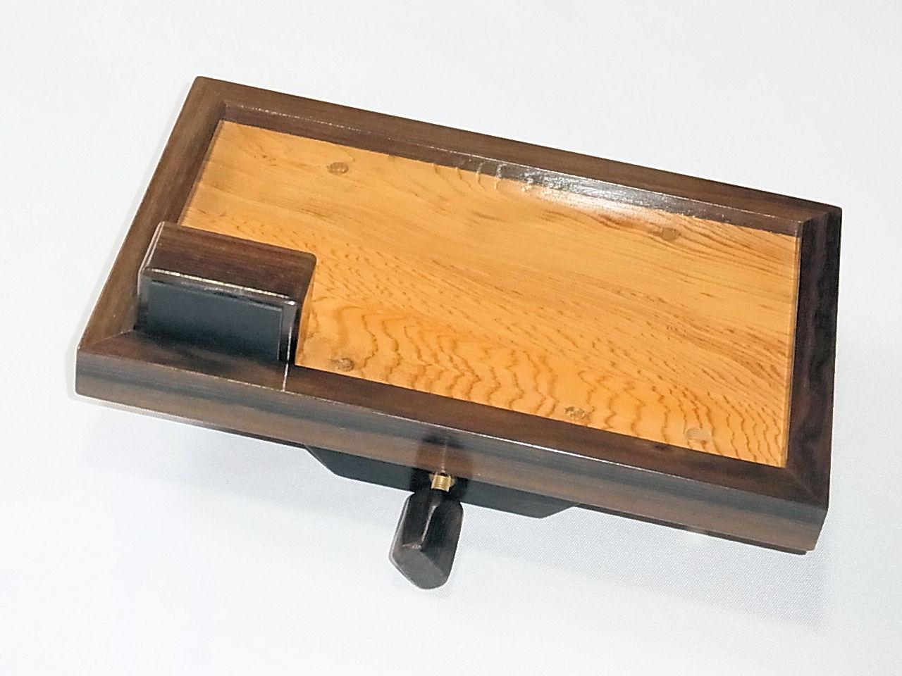 画像1: ヘラブナ釣り用手作りお膳 シャム柿回し 屋久杉作り