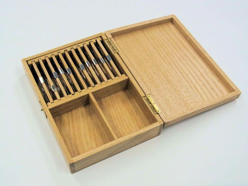 画像2: 栗材使用 仕掛け小物入れ 大 片面自在間仕切り 栗製仕掛け巻き大10個付き