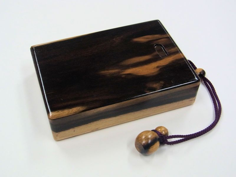 画像1: 感謝価格!黒柿材使用 黒柿瓢箪根付仕掛け小物入れ 紋竹仕掛け巻5個付き