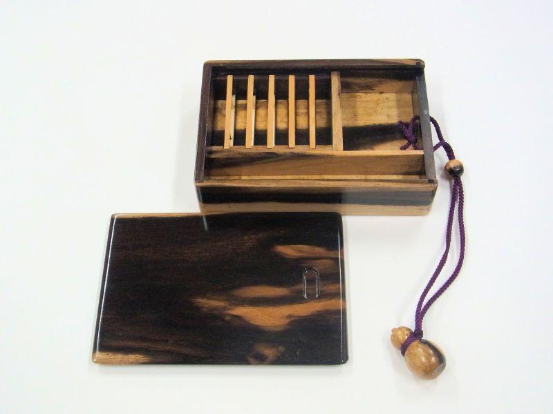 画像3: 感謝価格!黒柿材使用 黒柿瓢箪根付仕掛け小物入れ 紋竹仕掛け巻5個付き