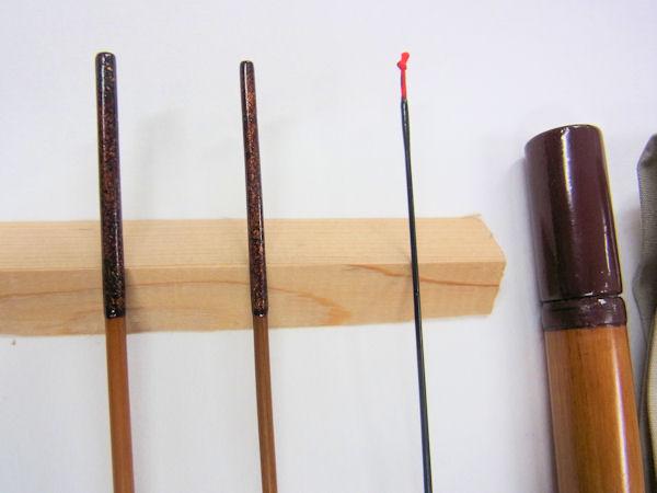 画像2: 新作 竿昭作 たなご竿 青貝研ぎ出し  三本継ぎ 一尺五寸