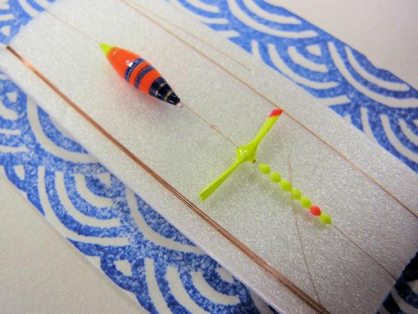 画像2: 手作りタナゴ釣り用 極小彩浮きプロペラ真ん中通し仕掛け 橙ベース モノスレッドSブラウン使用