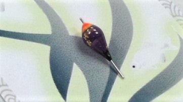 画像2: 新作ポン太工房 オリジナル極小浮き 紫/黒×蛍光レッド