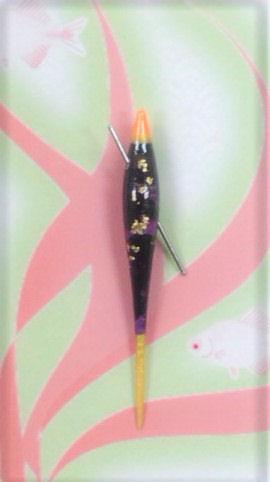 画像1: 新作ポン太工房 オリジナル在来用浮き 紫/黒×蛍光オレンジ