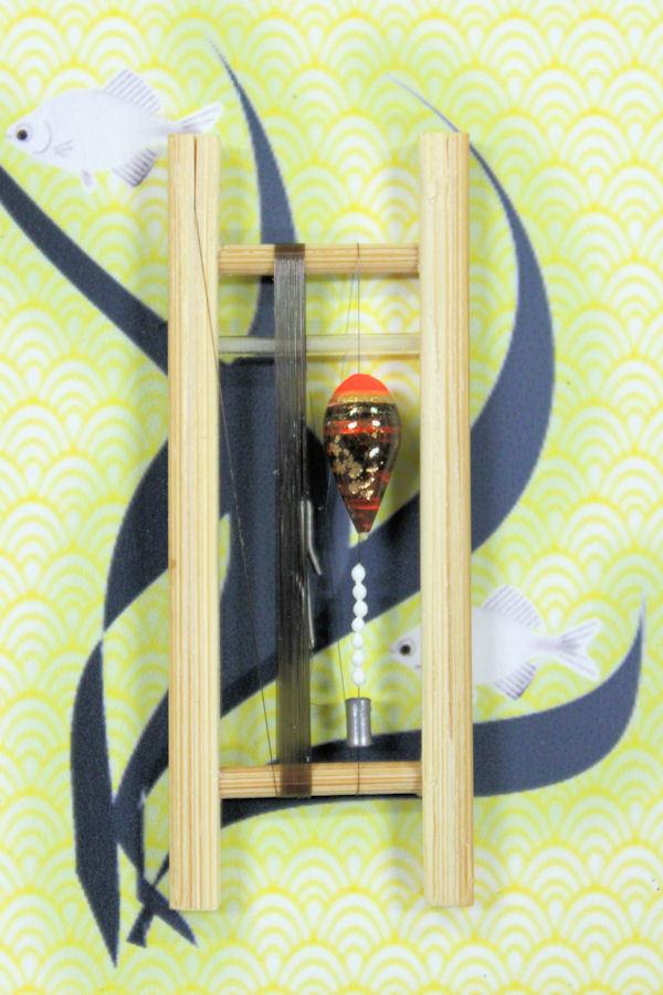 画像1: 19春モデル ポン太工房 中通し仕掛け(すぐ釣りセット)山吹バージョン:トップ蛍光赤×茶マーブル