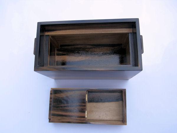 画像4: 総黒柿材使用道具箱 大 スライド開閉  ベルト付き
