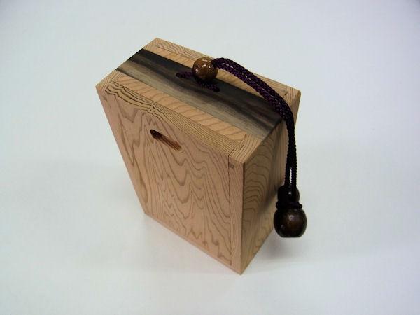 画像1: 感謝価格!総屋久杉材使用 両面スライド式黒柿瓢箪根付小物道具箱