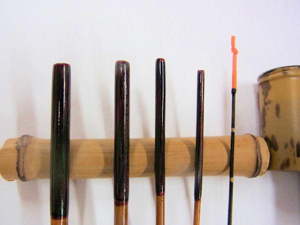 画像2: 感謝価格!小継ぎタナゴ釣り用和竿 矢竹 藤巻握り 並継 五本継ぎ 55センチ