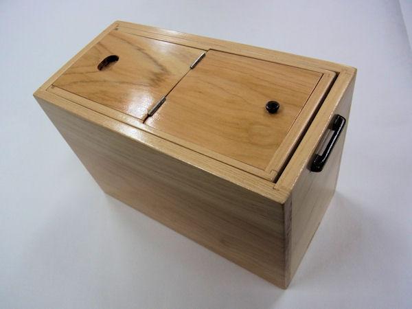 画像1: 国産檜材使用道具箱 兼水箱 上蓋スライド開閉 なかご下スライド  ベルト付き