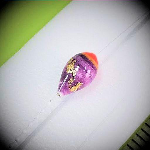 画像2: 新作ポン太工房プロトタイプの中通し浮き仕掛け 山吹 蛍光レッド(トップ)/紫(ボディ) モノスレッドスモーク