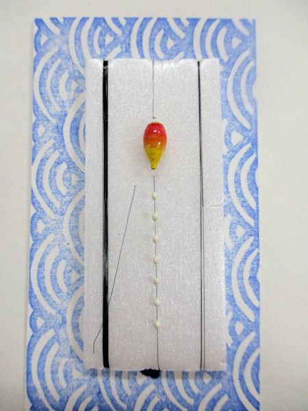 画像1: 新作黒糸使用 手作りバラタナゴ釣り用 極小彩真ん中通し仕掛け ライングラデーション朱黄 山吹