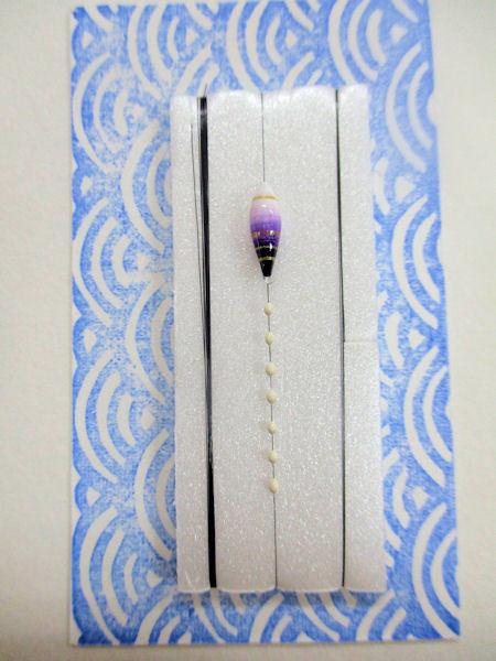 画像1: 新作黒糸使用 手作りバラタナゴ釣り用 極小彩真ん中通し仕掛け 細身ライングラデーション白紫 山吹