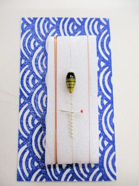 画像1: 手作りタナゴ釣り用 山吹 極小浮きプロペラ真ん中通し仕掛け ライングラデーション黒金 モノスレッドSブラウン使用