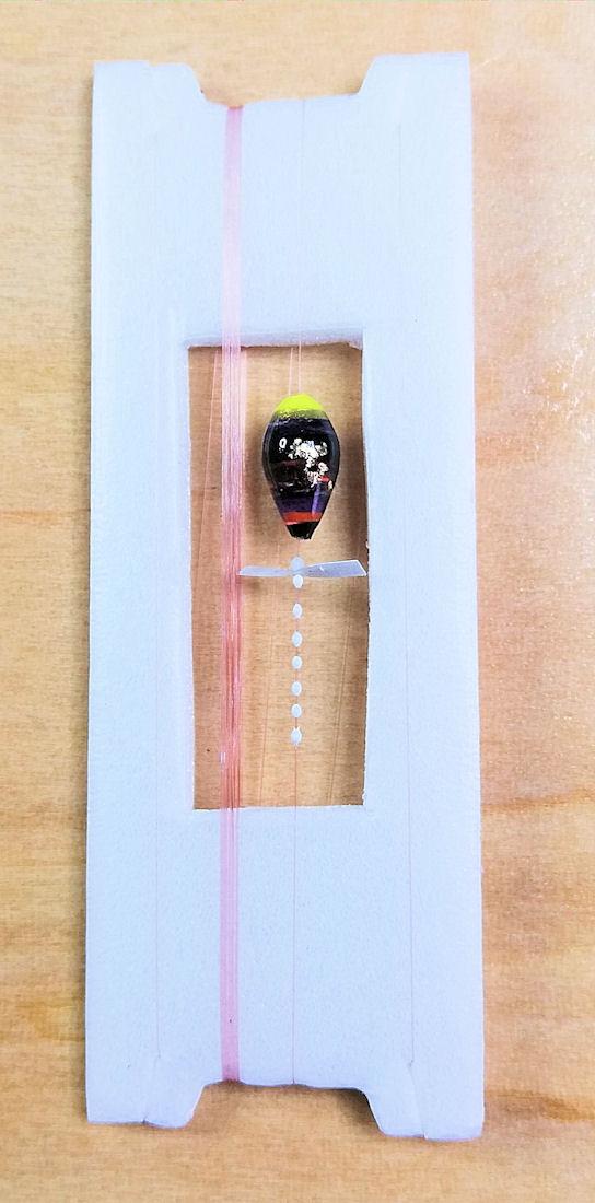 画像1: 新作ポン太工房超軽量オリジナルプロペラ超高感度極小中通し浮きタナゴ仕掛け  蛍光イエロー×黒系グラデーション モノスレッドSブラウン