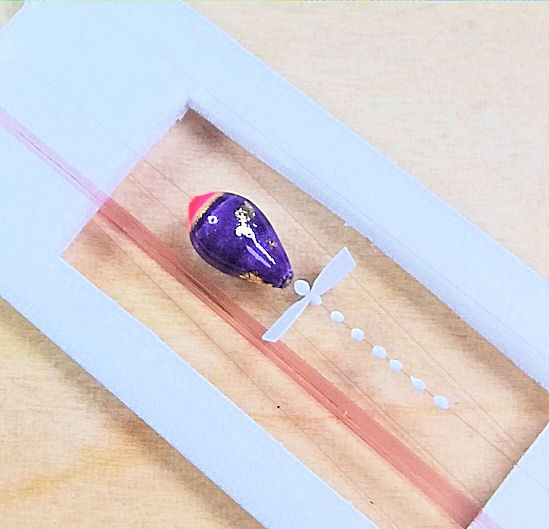 画像2: 新作ポン太工房超軽量オリジナルプロペラ超高感度極小中通し浮きタナゴ仕掛け蛍光ピンク×紫グラデーション モノスレッドSブラウン