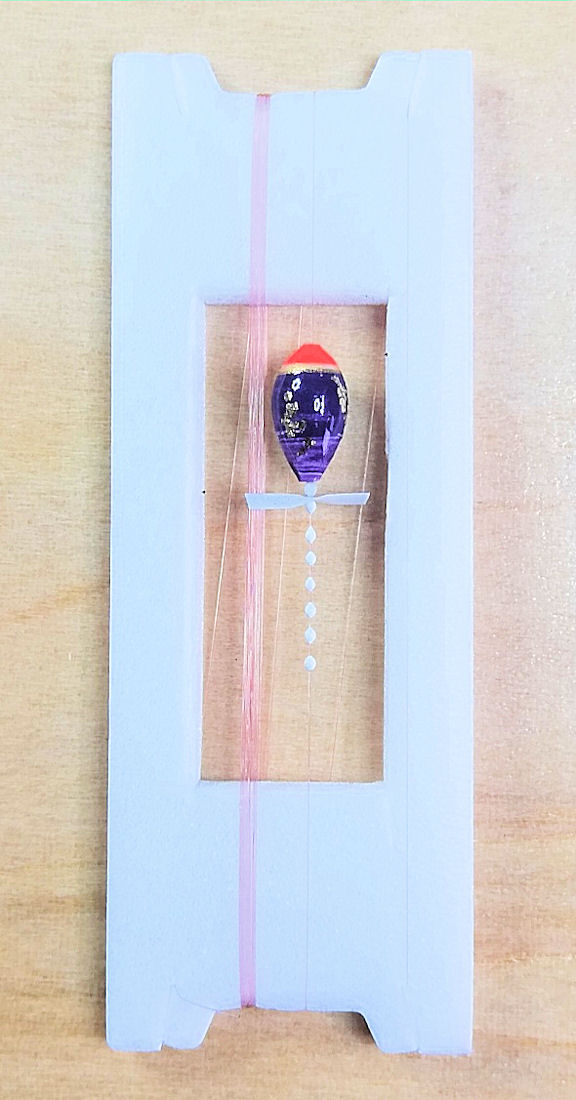 画像1: 新作ポン太工房超軽量オリジナルプロペラ超高感度極小中通し浮きタナゴ仕掛け  蛍光レッド×紫グラデーション モノスレッドSブラウン