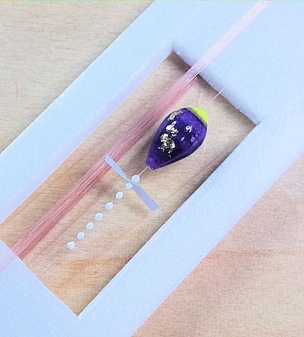 画像2: 新作ポン太工房超軽量オリジナルプロペラ超高感度極小中通し浮きタナゴ仕掛け  蛍光イエロー×紫グラデーション モノスレッドSブラウン