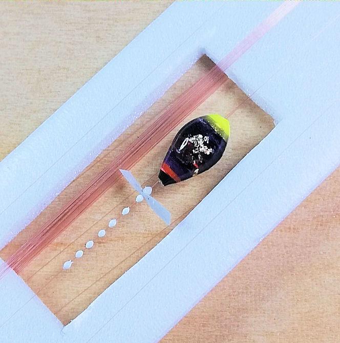画像3: 新作ポン太工房超軽量オリジナルプロペラ超高感度極小中通し浮きタナゴ仕掛け  蛍光イエロー×黒系グラデーション モノスレッドSブラウン