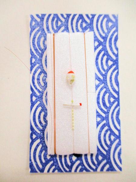 画像1: 手作りタナゴ釣り用 山吹 極小浮きシモリ プロペラ真ん中通し仕掛け 白金 モノスレッドSブラウン使用