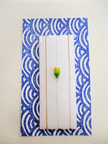 画像1: 手作り豆バラ 新子釣り用 超極小真ん中通し浮き、超極小シモリ仕掛け 山吹 ライングラデーション 黄緑