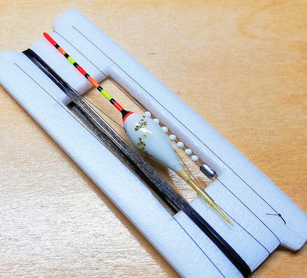 画像1: ポン太工房 在来タナゴ用TOP付き斜め通し浮き仕掛け ボディー色スーパーホワイト