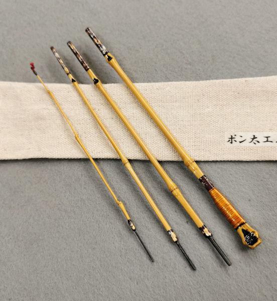 画像1: ポン太工房 オリジナル和竿 布袋竹4本継 全長53,4センチ