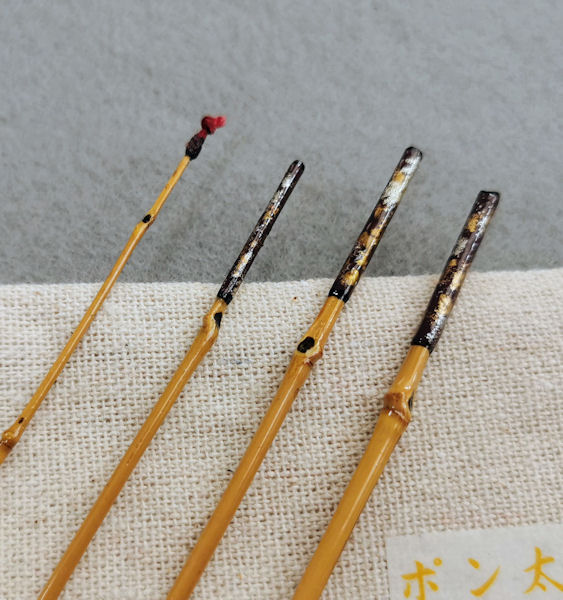 画像2: ポン太工房 オリジナル和竿 布袋竹4本継 全長47、5センチ