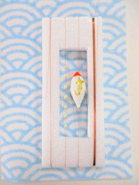 画像1: 手作りタナゴ釣り用 山吹 斜め真ん中通し仕掛け 浮きファットタイプ 白金 モノスレッドSブラウン