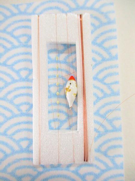 画像1: 手作りタナゴ釣り用 山吹 斜め真ん中通し仕掛け 浮き小タイプ 白金 モノスレッドSブラウン