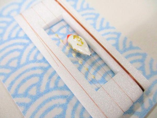 画像2: 手作りタナゴ釣り用 山吹 斜め真ん中通し仕掛け 浮きファットタイプ 白金 モノスレッドSブラウン